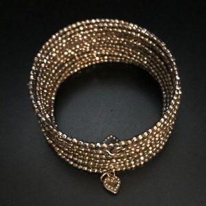 Stella & Dot Wire Coil Silver Tone Bead Bracelet